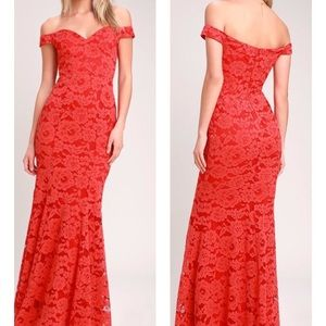 Swept Up Red Lace Off The Shoulder Maxi Dress